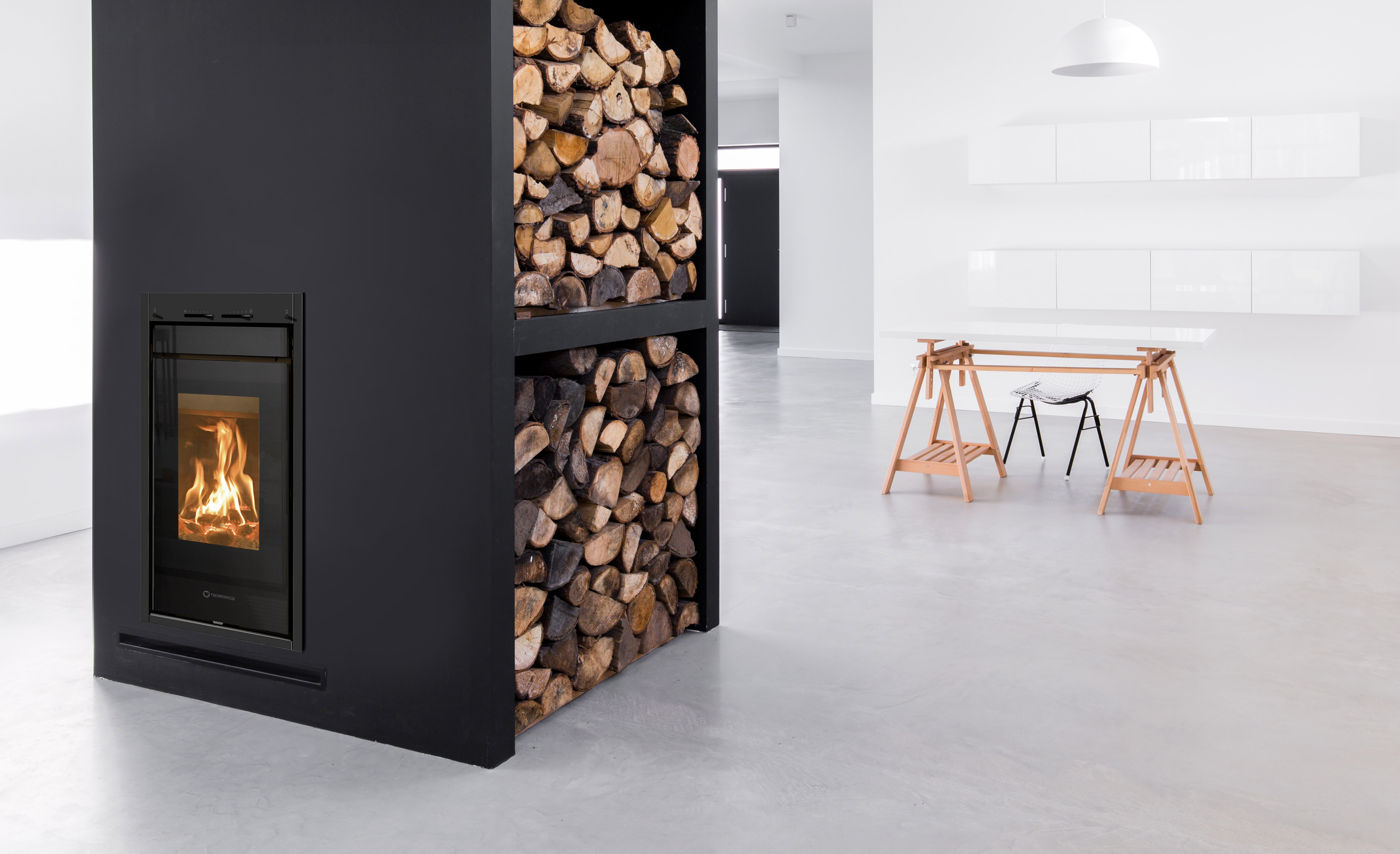 po les b ches vertical line wood s fires chauffage. Black Bedroom Furniture Sets. Home Design Ideas