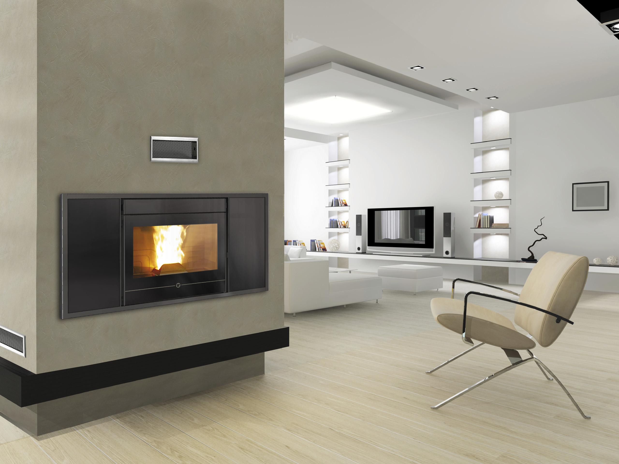 po les granul s insert line 600 s fires chauffage. Black Bedroom Furniture Sets. Home Design Ideas